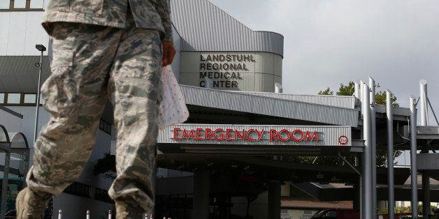 General view of the entrance to the hospital of the Military Regional Medical Center in Landstuhl near Ramstein Air Base Sept