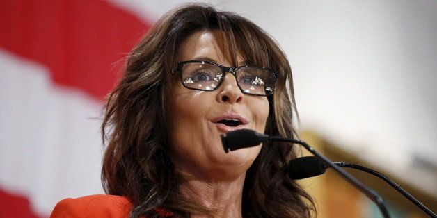 Former Alaska Governor Sarah Palin speaks during Milwaukee County GOP's 'Wisconsin Decides 2016' presidential candidate event
