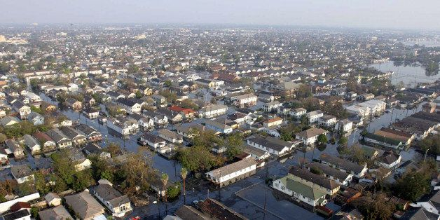 New Orleans, Louisiana on Saturday, September 3, 2005. The city remains under water as military helicopters evacuate people.