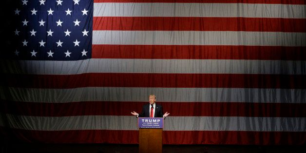 Republican presidential candidate Donald Trump speaks during a campaign rally at the Indiana Theater Sunday, May 1, 2016, in