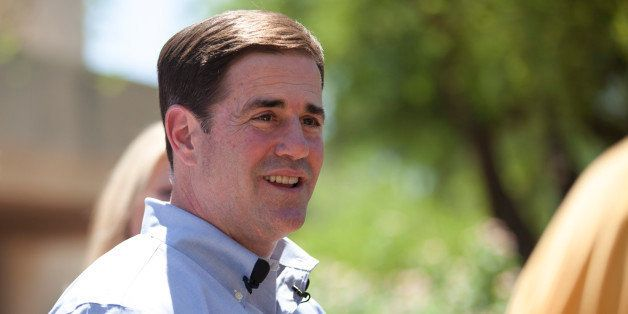Arizona Republican gubernatorial primary candidate Doug Ducey smiles after voting in the Paradise Valley section of Phoenix,