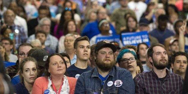 Attendees listen during a campaign event for Senator Bernie Sanders, an independent from Vermont and 2016 Democratic presiden