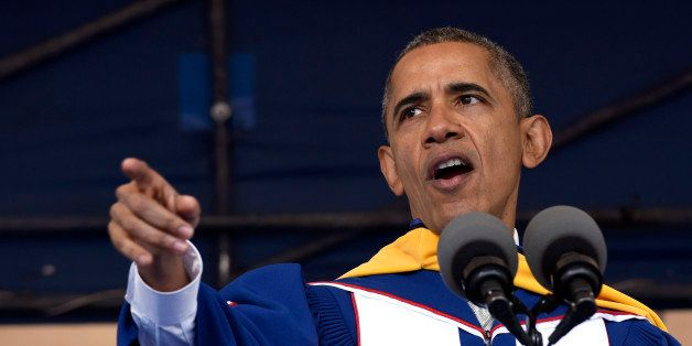 President Barack Obama gives his commencement address to the 2016 graduating class of Howard University in Washington, Saturd