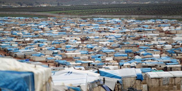 A general view shows tents housing internally displaced people in Atma camp, near the Syrian-Turkish border in Idlib Governor