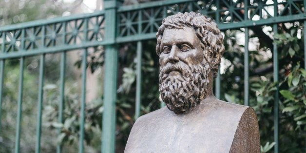 Bust statue of the famous ancient Greek tragedian writer Sophocles (496 - 405 BC). His most famous tragedies feature Oedipus