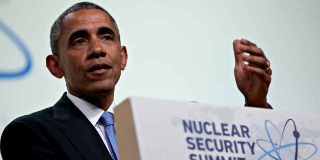 WASHINGTON, DC - APRIL 1: (AFP OUT) President Barack Obama arrives to speak during a closing session at the Nuclear Security