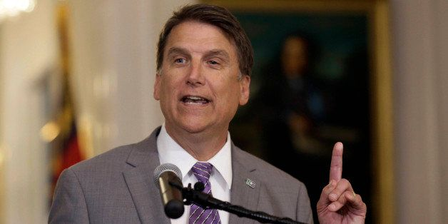 FILE - In this May 9, 2016 file photo, North Carolina Gov. Pat McCrory speaks during a news conference in Raleigh, N.C. Four