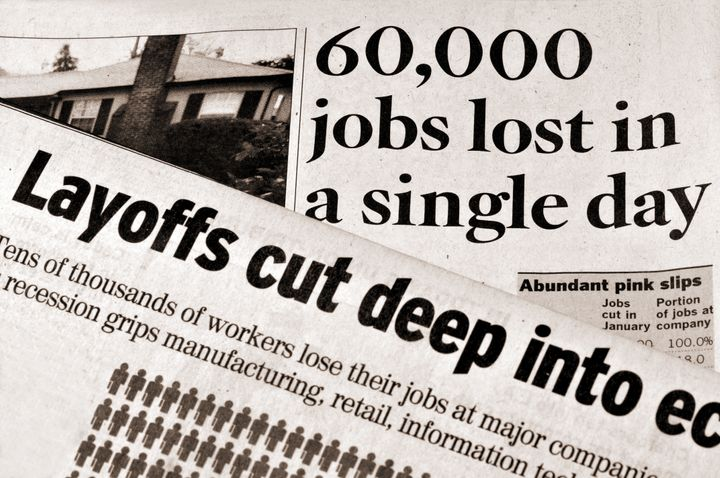 Layoffs and Recession - newspaper headlines documenting deep job cuts