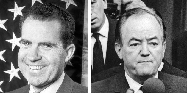 (FILE PHOTO) In this composite image a comparison has been made between former US Presidential Candidates Richard Nixon (L) a