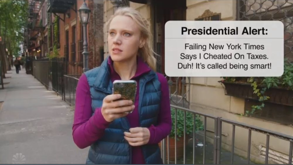 Kate McKinnon getting a presidential alert