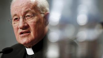 Cardinal Marc Ouellet talks during a news conference to announce the canonisation of Fray Junipero Serra at the Vatican April 20, 2015. The canonization will be lead by Pope Francis during his pastoral visit to U.S. in September 2015. REUTERS/Tony Gentile