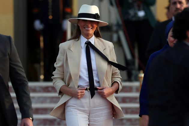 The former model received similar attention for wearing this beige suit and hat in Egypt. She urged the...