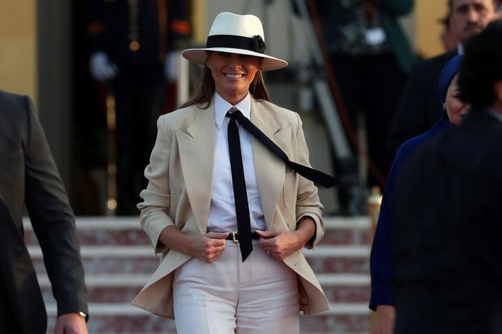 The former model received similar attention for wearing this beige suit and hat in Egypt. She urged the public to &ldquo