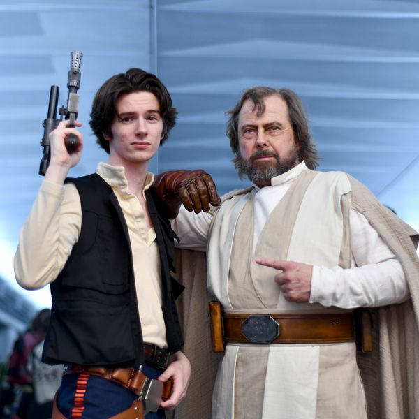 Fans dress as Han Solo and an older Luke Skywalker for 2018's New York Comic Con in the Javits Center.