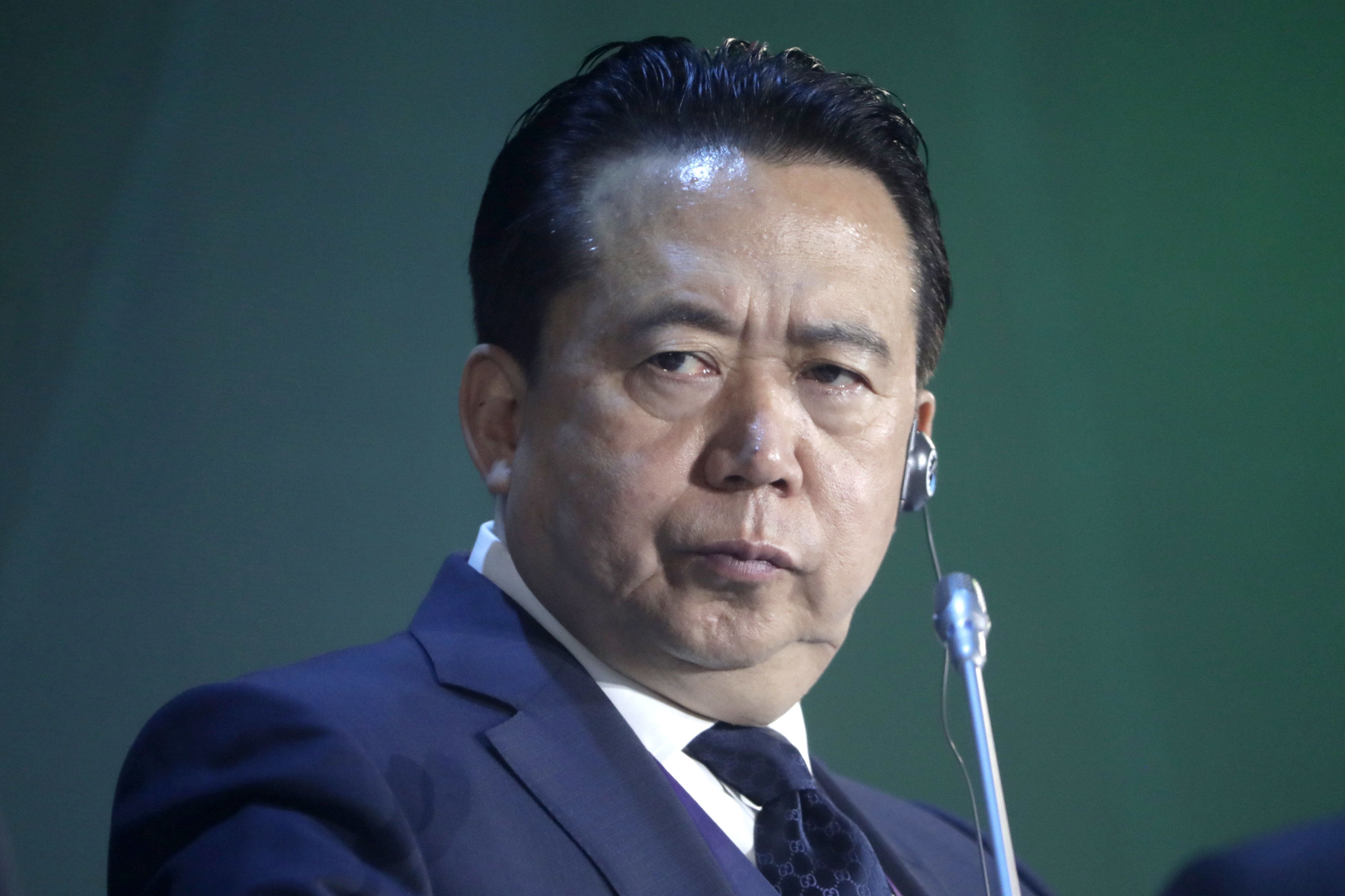 MOSCOW, RUSSIA  JULY 6, 2018: Interpol President Meng Hongwei at an International Cybersecurity Congress at Moscow's World Trade Centre. Mikhail Metzel/TASS (Photo by Mikhail Metzel\TASS via Getty Images)