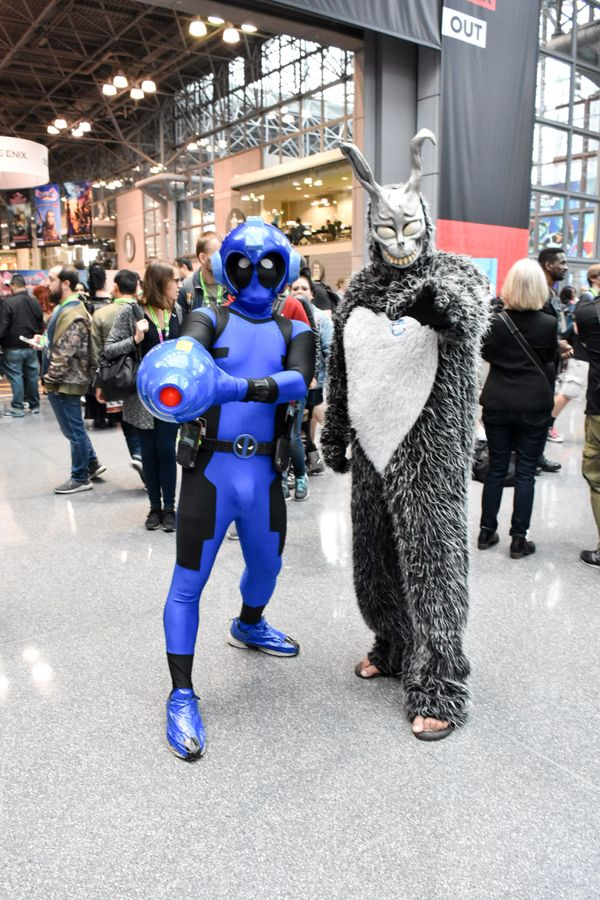 "Mega Man-Deadpool hybrid and Frank from the film ""Donnie Darko."""
