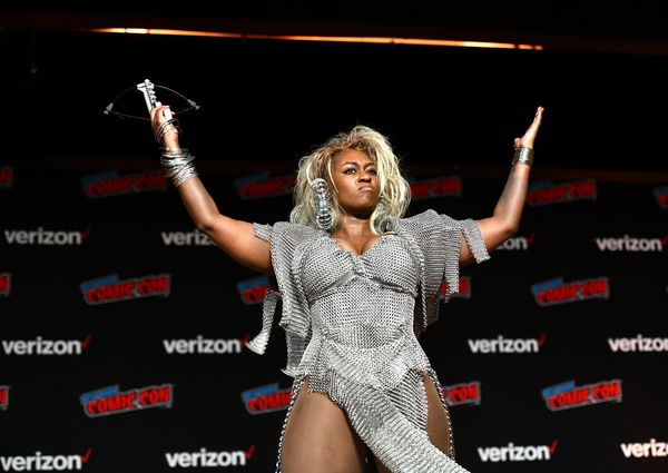 """A fan as Tina Turner's character Aunty Entity in """"Mad Max: Beyond Thunderdome."""""""