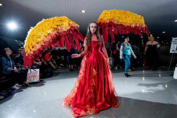 "A ""Hunger Games"" fan shows off the flaming wings and dress of her Katniss Everdeen costume."