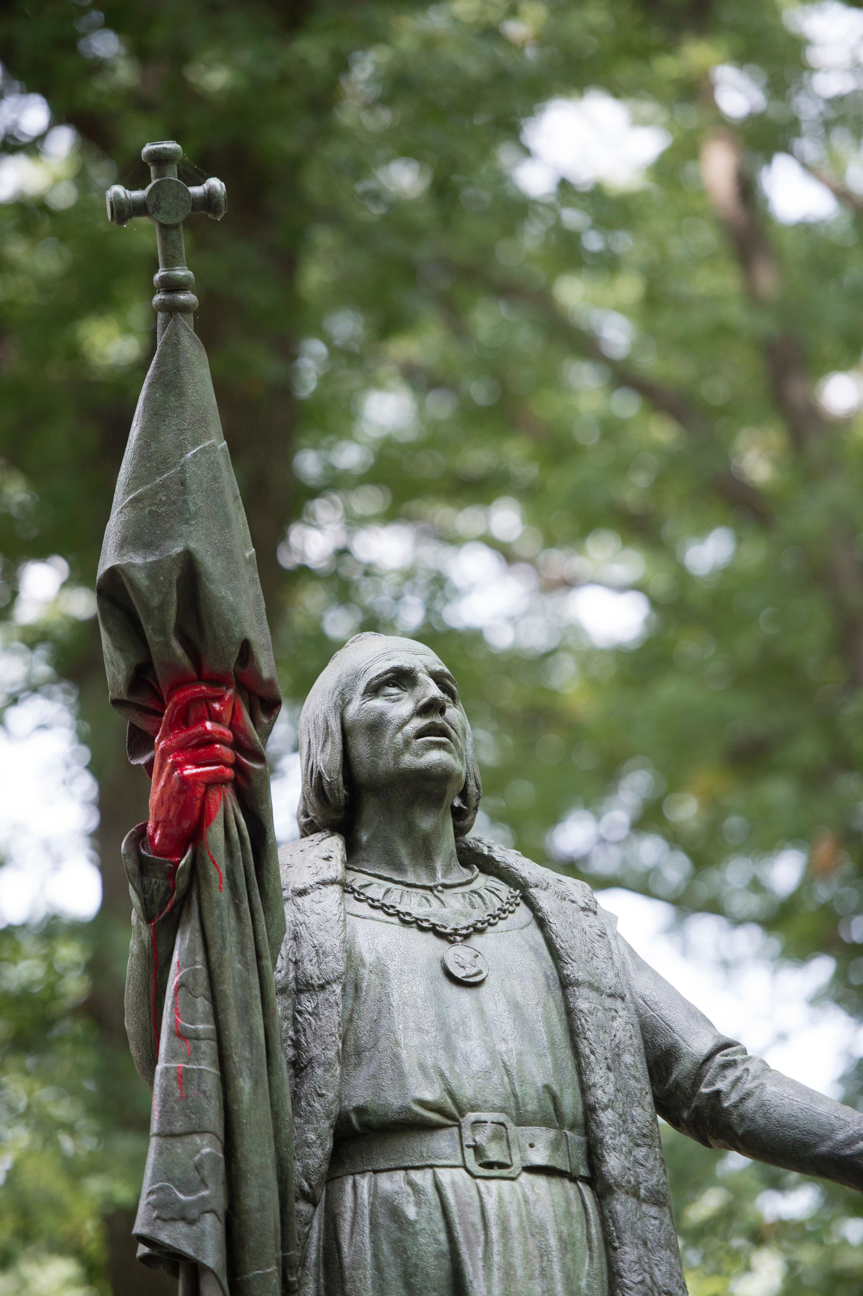 A statue of Christopher Columbus was defaced today in New York City's Central Park. Vandals splashed red paint on the hands and  pedistal of the statue. (Photo by Howard Simmons/NY Daily News via Getty Images)