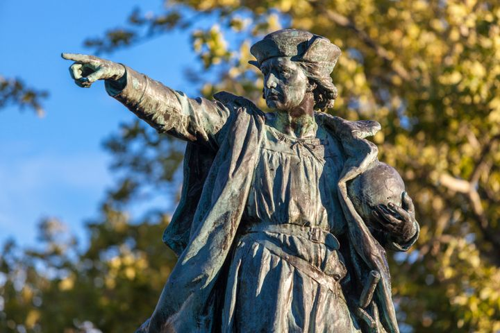 A bronze statue of Christopher Columbus stands in Providence, Rhode Island.<i></i>