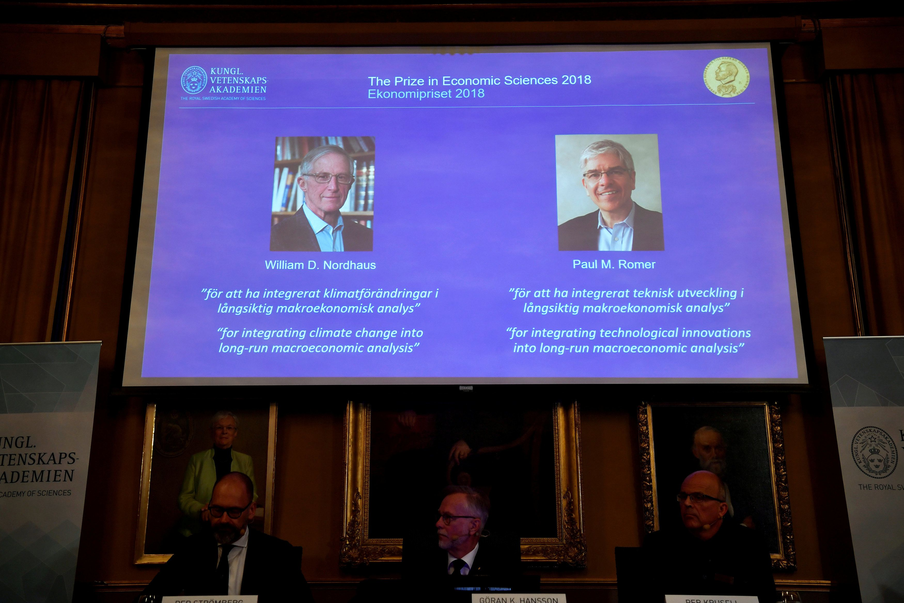 Per Stromberg, Goran K. Hansson and Per Krusell announce the laureates of the Nobel Prize in Economics during a press conference at the The Royal Swedish Academy of Sciences in Stockholm, Sweden, October 8, 2018. The prize is divided between William D. Nordhaus and Paul M. Romer. Henrik Montgomery/ TT News Agency/via REUTERS      ATTENTION EDITORS - THIS IMAGE WAS PROVIDED BY A THIRD PARTY. SWEDEN OUT. NO COMMERCIAL OR EDITORIAL SALES IN SWEDEN.