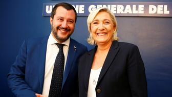 French far right leader Marine Le Pen and Italy's far right leader and Interior Minister Matteo Salvini shake hands before holding a news conference in Rome, Italy October 8, 2018. REUTERS/Max Rossi