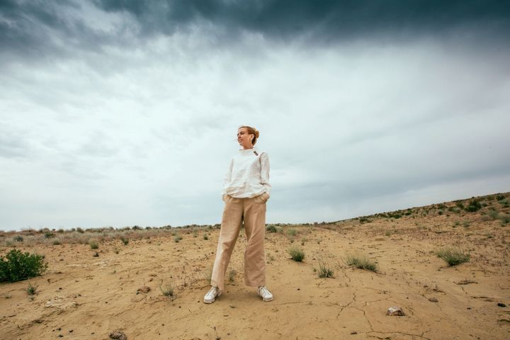 Stacey Dooley stands where there was once a vast stretch of sea.