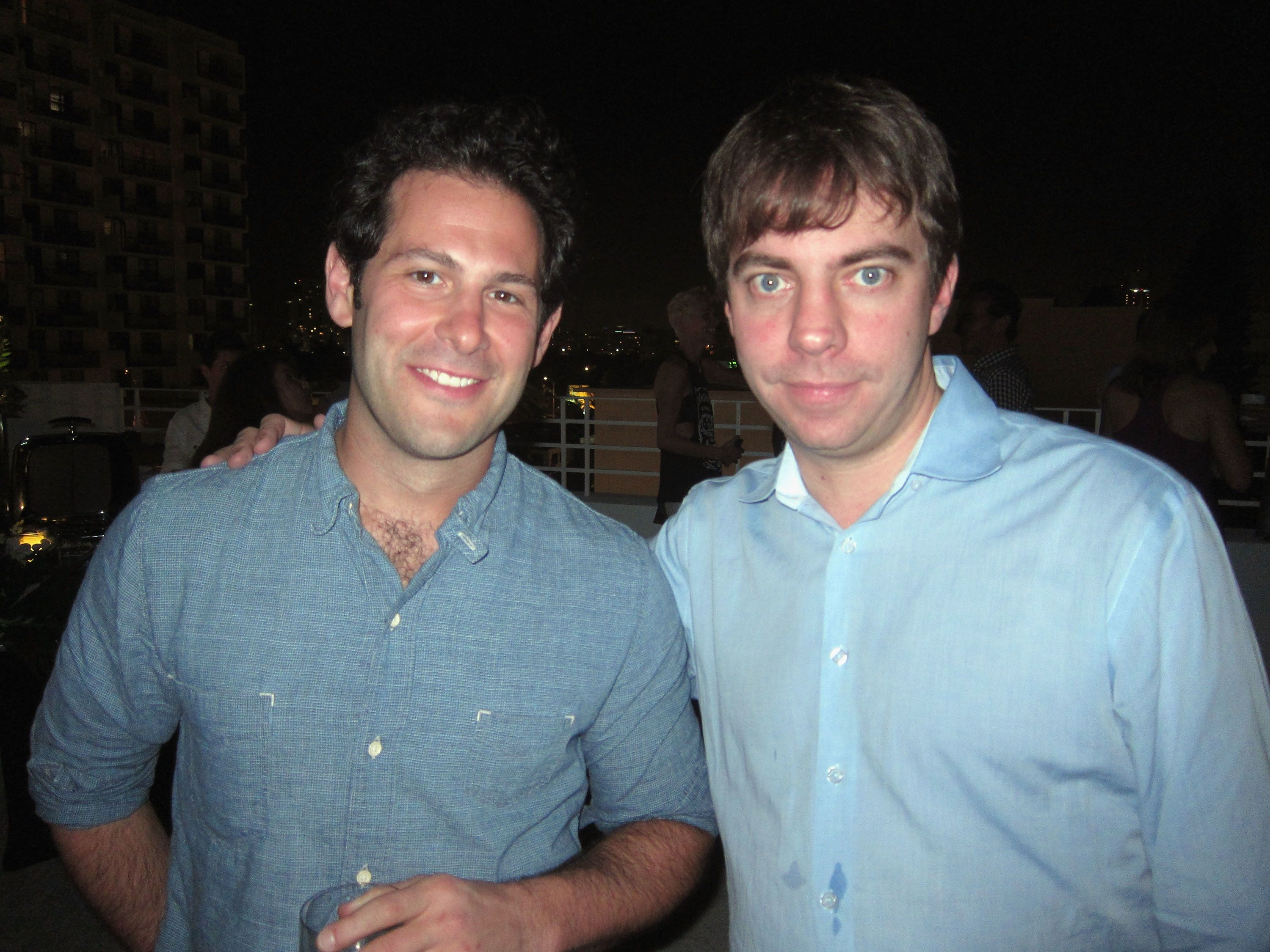 NEW YORK, NY - MARCH 19:  Co-Founders of Eater.com Ben Leventhal and Lockhart Steele pose circa February 2012 in Miami, Florida.  (Photo by Jason Binn/WireImage)
