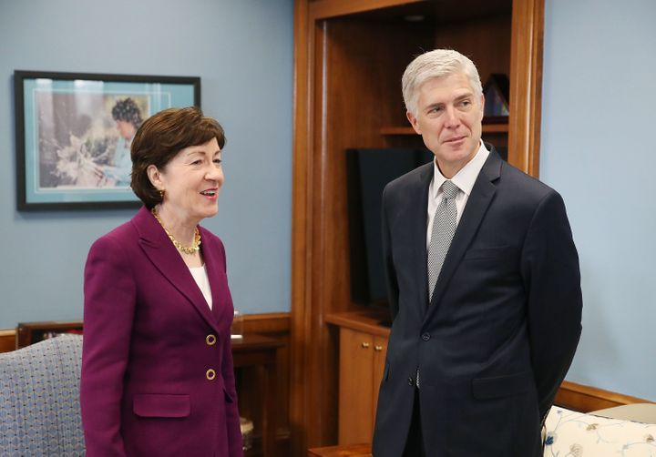 Collins with then-Supreme Court nominee Neil Gorsuch in 2017.