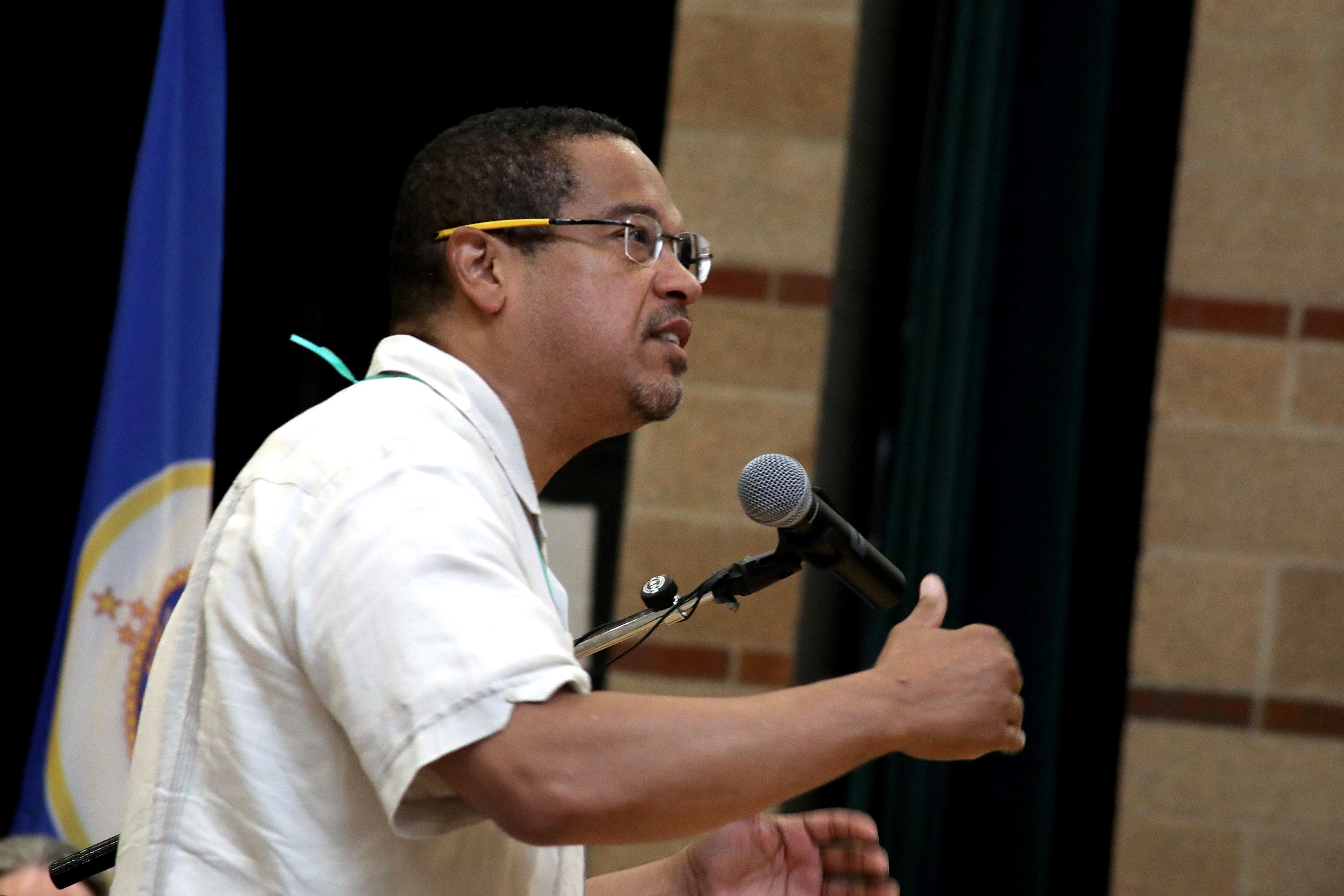 Rep. Keith Ellison speaks at the Democratic-Farmer-Labor Party endorsement convention in Minneapolis on June 17, 2018.