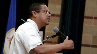 Representative Keith Ellison, a Democrat from Minnesota, speaks during the Democratic Farmer Labor (DFL) Party endorsement convention in Minneapolis, Minnesota, U.S., on Sunday, June 17, 2018. The DFL will endorse a primary candidate for the seat of Representative Keith Ellison, a democrat from Minnesota, as he runs for state attorney general. Photographer: Emilie Richardson/Bloomberg via Getty Images