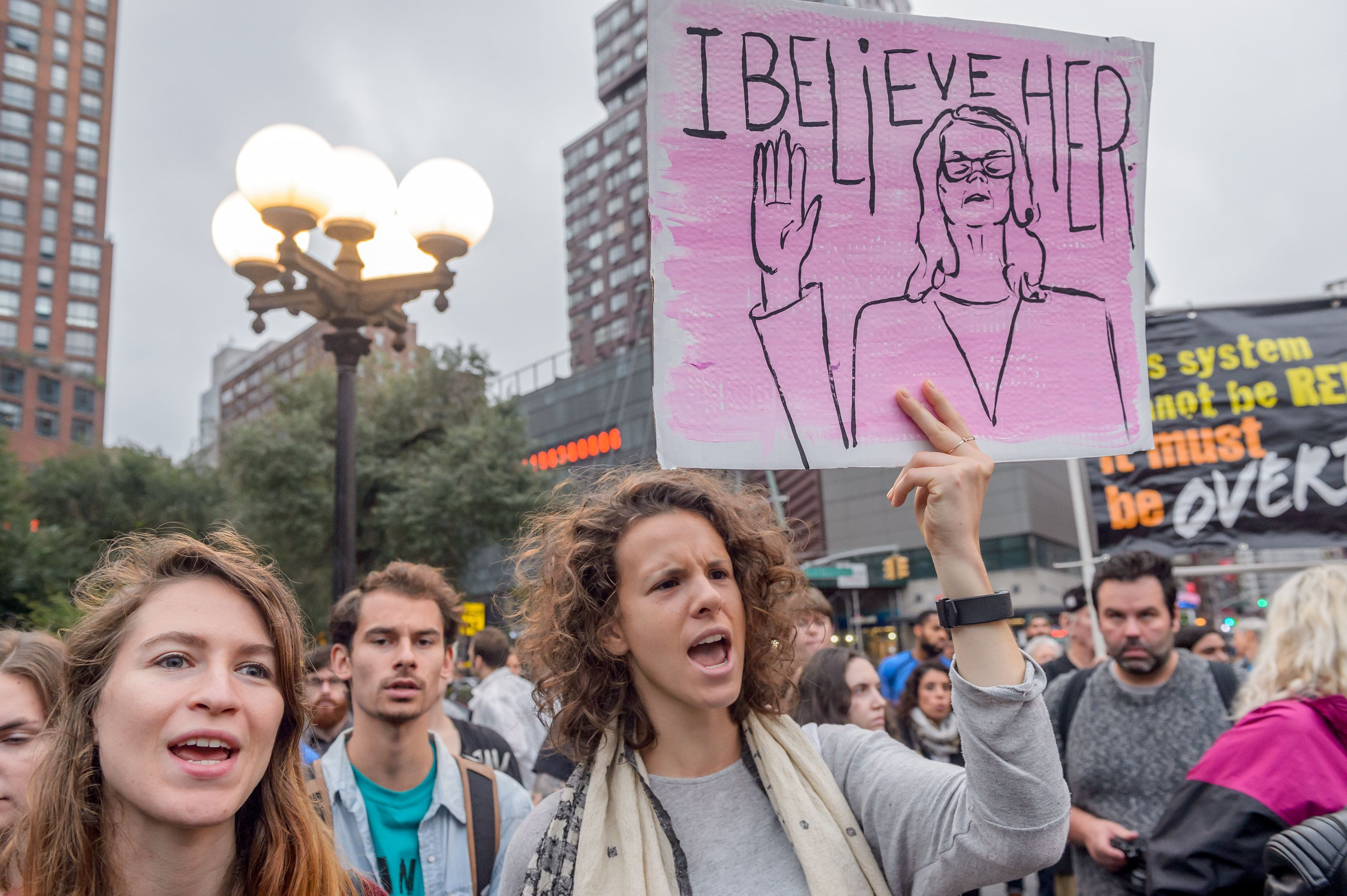 UNION SQUARE, NEW YORK, UNITED STATES - 2018/10/06: Hundreds of new Yorkers took to the streets on October 6, 2018 after the Senate voted on Brett Kavanaughs confirmation to the Supreme Court, to express rage and refusal to consent to the US Senate appointee to the Supreme Court. (Photo by Erik McGregor/Pacific Press/LightRocket via Getty Images)