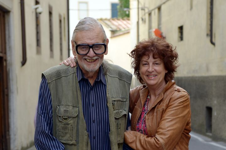 George Romero and Suzanne Desrocher-Romero at the Lucca Film Festival in Italy on April 7, 2016.