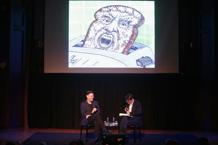 Carrey and Stokes discuss some of the comedian's political cartoons during the 2018 New Yorker Festival.