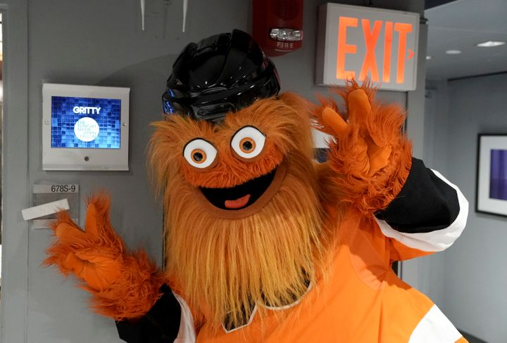 """Gritty backstage at """"The Tonight Show"""" on Sept. 27. """"The shaggier the mascot, the better,"""" said Deadspin'sSamer Kalaf."""