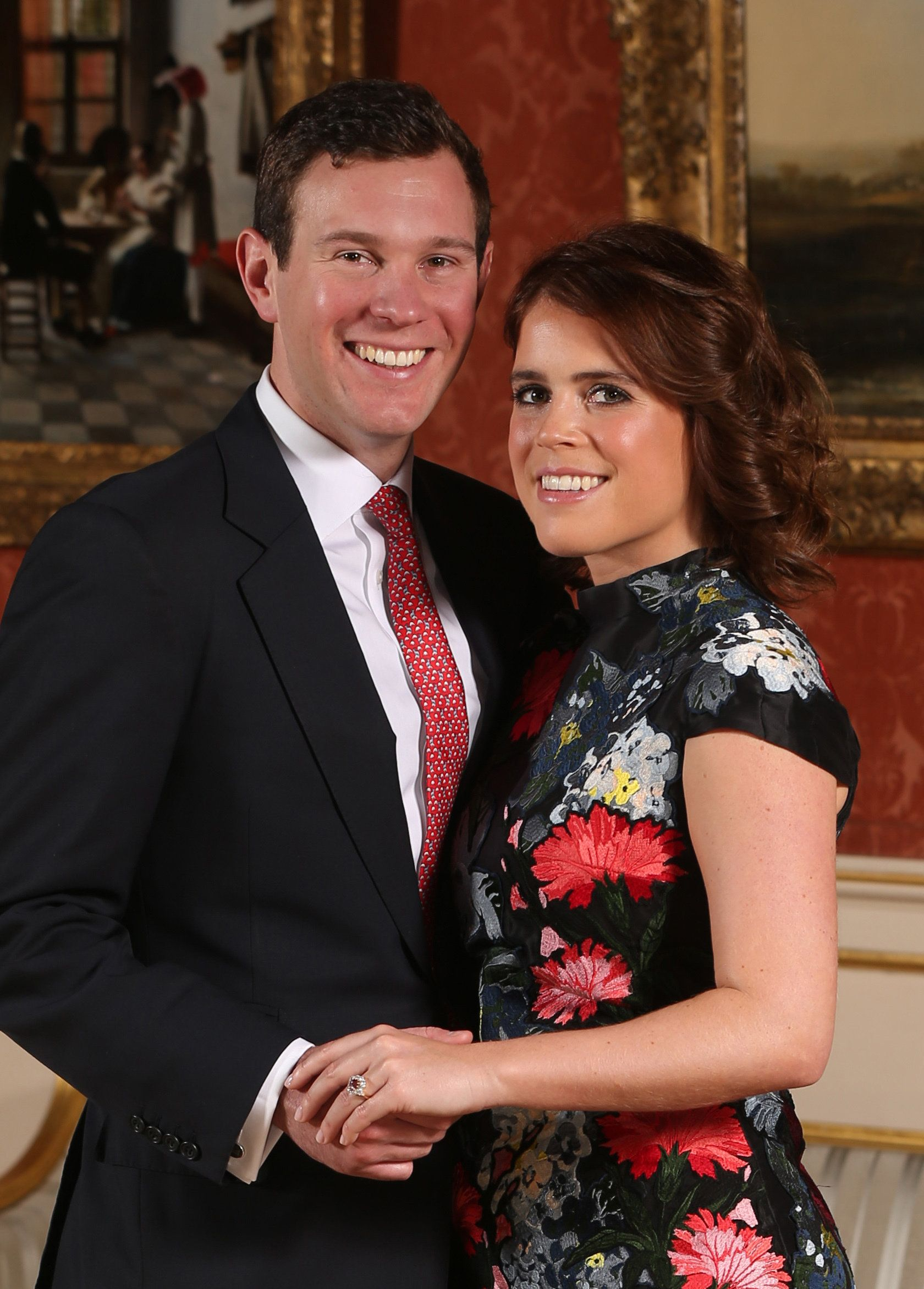 Princess Eugenie and Jack Brooksbank pose at Buckingham Palace in London after they announced their engagement.