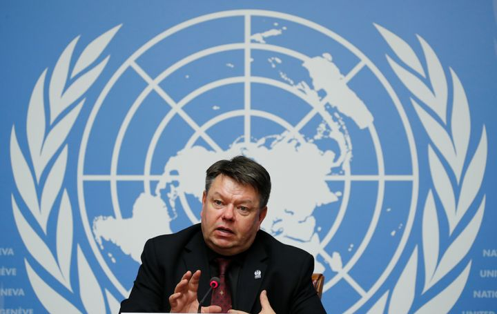 World Meteorological Organization Secretary-General Petteri Taalas attends a news conference in Geneva after the release