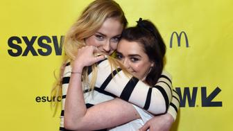 AUSTIN, TX - MARCH 12:  Actors Sophie Turner (L) and Maisie Williams attend onstage at 'Featured Session: Game of Thrones' during 2017 SXSW Conference and Festivals at Austin Convention Center on March 12, 2017 in Austin, Texas.  (Photo by Amy E. Price/Getty Images for SXSW)