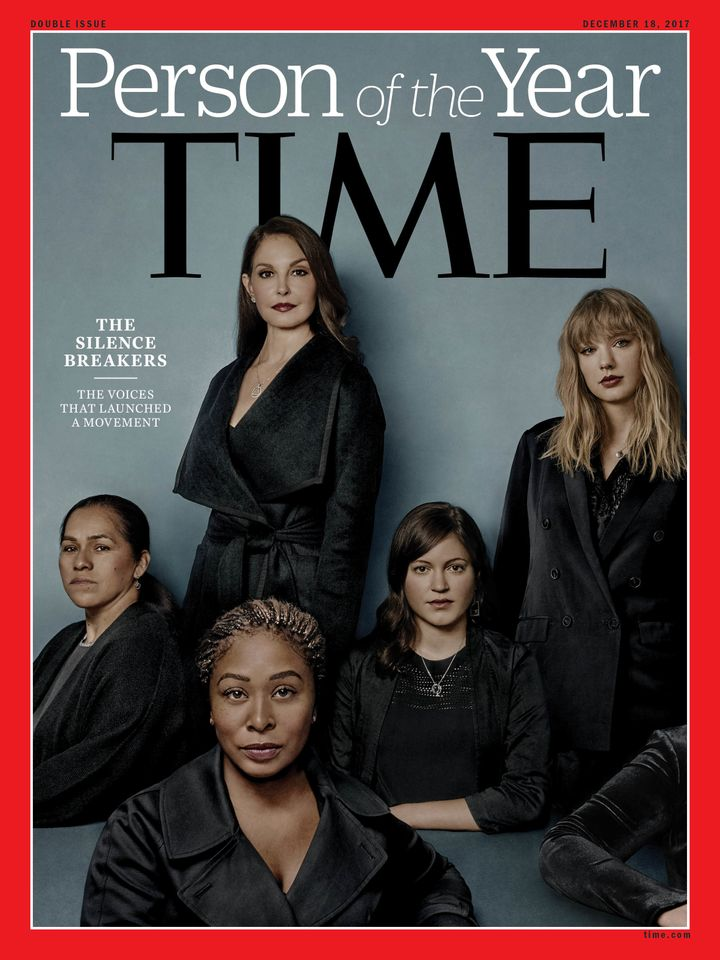 The cover of Time magazine's 2017 Person of the Year issue including Taylor Swift among women who had spoken out in the Me To