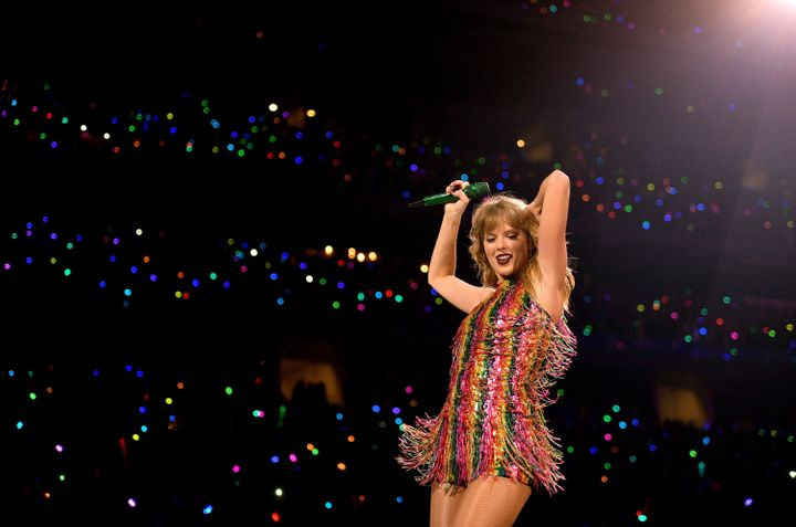 Taylor Swift performs onstage during the Arlington, Texas, stop of the Reputation tour.
