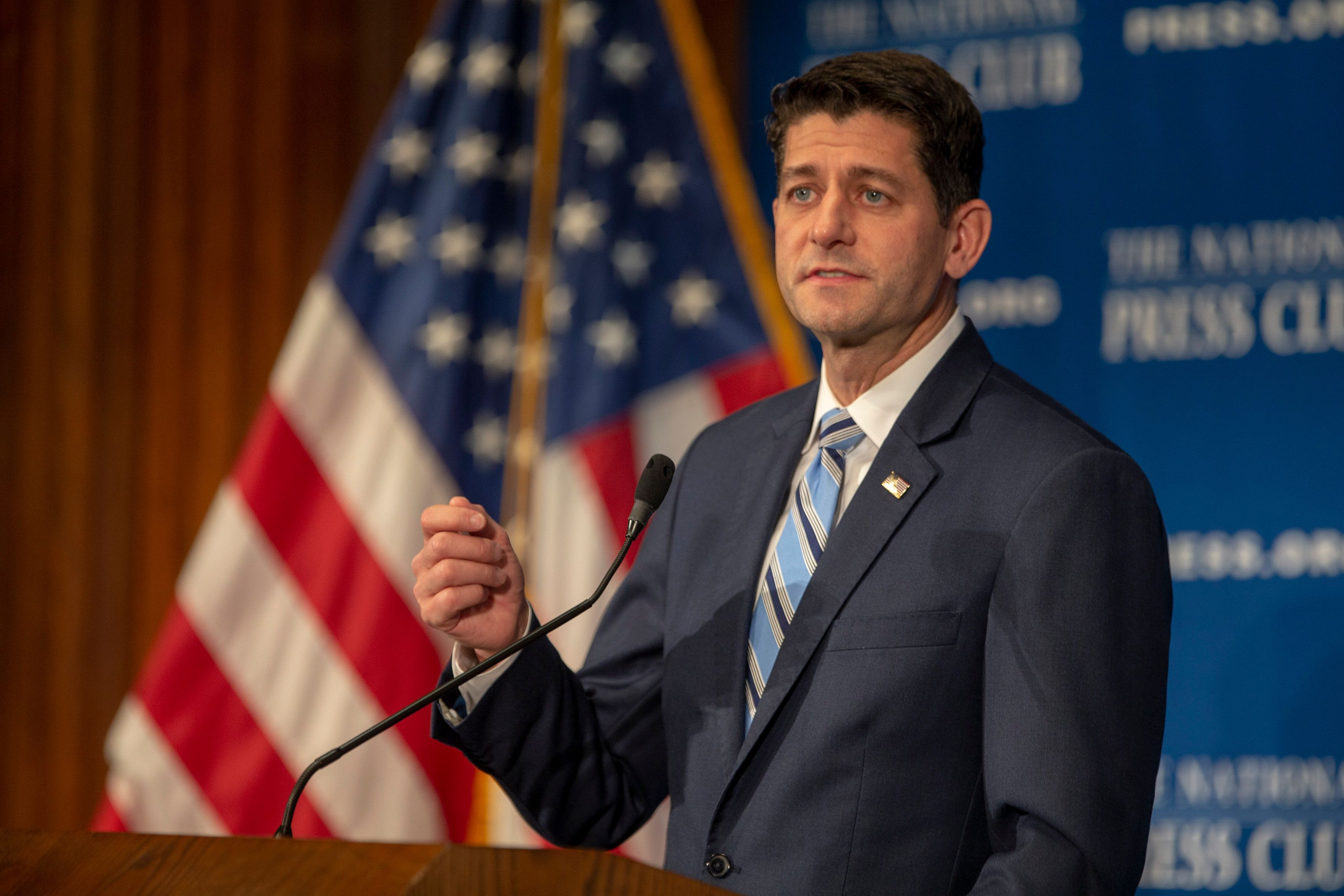 WASHINGTON, DC - OCTOBER 08: Speaker of the House Paul Ryan (R-WI) speaks at the National Press Club Newsmaker event on October 8, 2018 in Washington, DC. Ryan delivered remarks on 'how Americans are 'Better Off Now,' highlighting the clear contrast between Republican policies and the Democrats' vision for America.' (Photo by Tasos Katopodis/Getty Images)