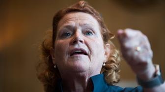 UNITED STATES - SEPTEMBER 12: Sen. Heidi Heitkamp, D-N.D., speaks during the Tribal Unity Impact Days hosted by the National Congress of American Indians in Dirksen Building on September 12, 2018. (Photo By Tom Williams/CQ Roll Call)