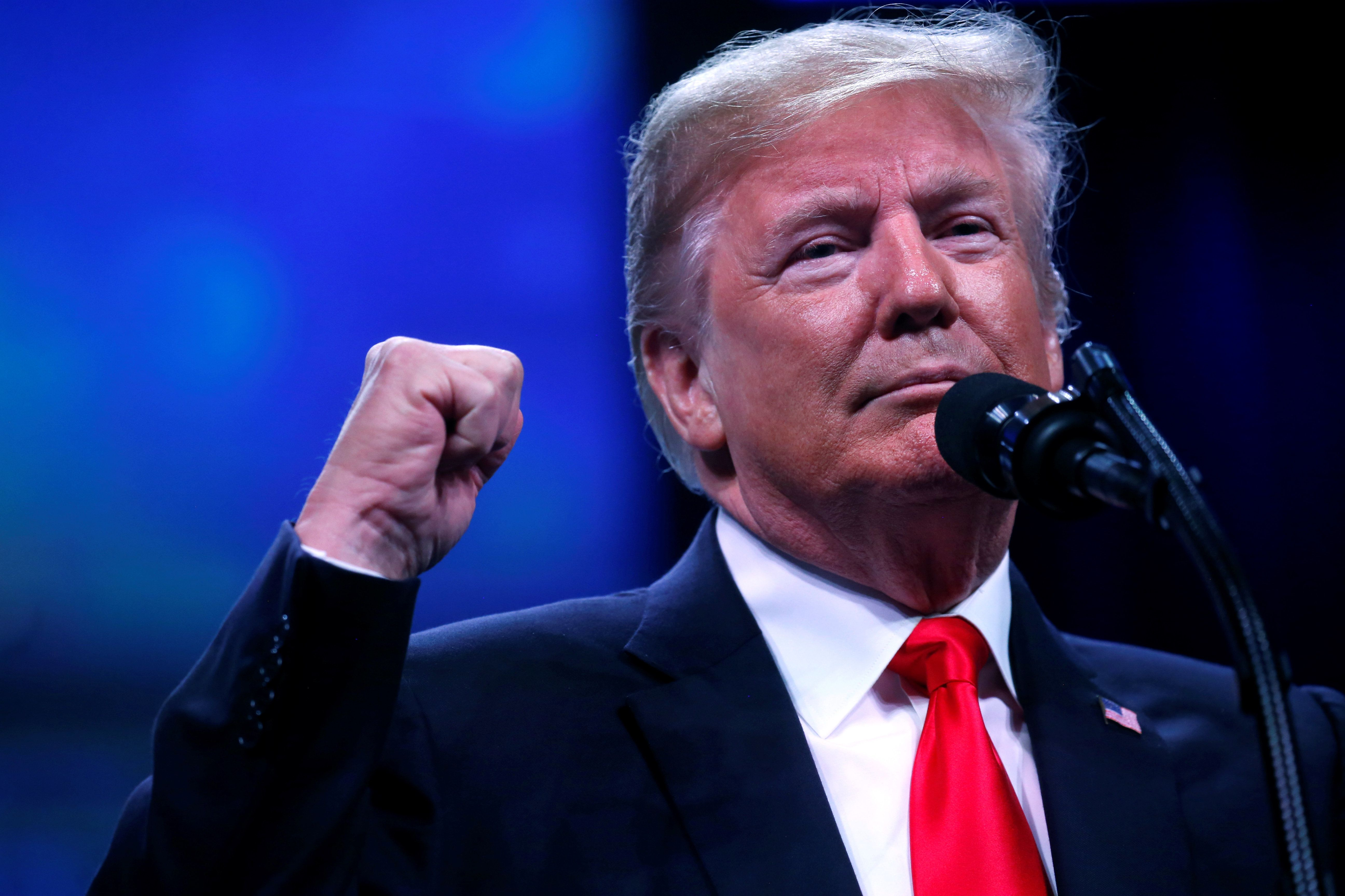 U.S. President Donald Trump speaks at the International Association of Chiefs of Police Annual Convention at the Orange County Convention Center in Orlando, FL, U.S., October 8, 2018. REUTERS/Leah Millis
