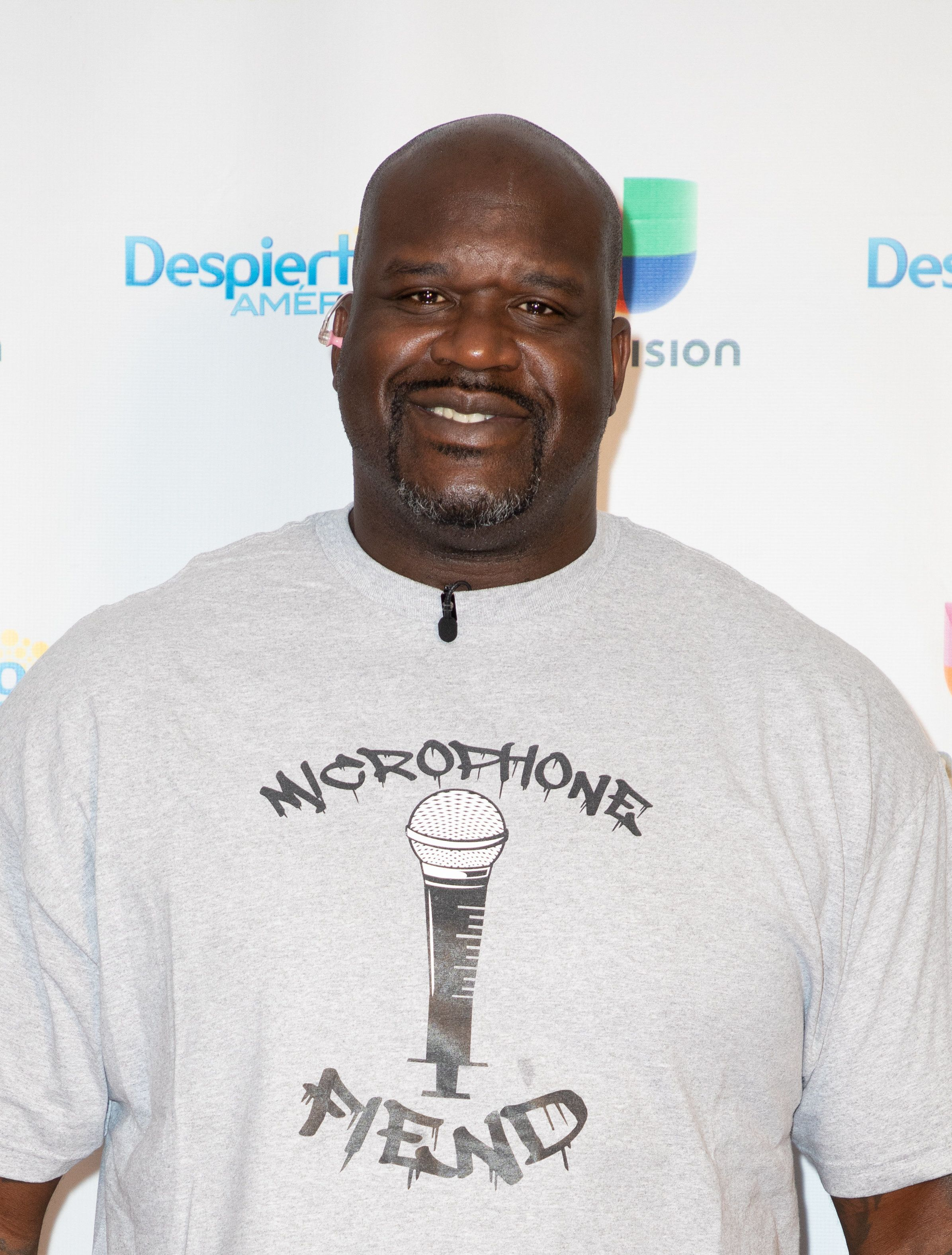 """MIAMI,FLORIDA-JUNE 28: Actor and former basketball player Shaquille O'Neal is seen during Univision's 'Despierta America' morning show to promote the up coming movie """"Uncle Drew"""" on June 28,2018 in Miami, Florida. (Photo by Alberto E. Tamargo/Sipa USA)"""