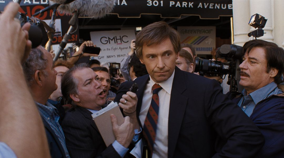 "Hugh Jackman as an embattled Gary Hart besieged by the media in ""The Front Runner."""