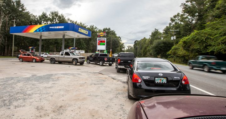 People line up for gasoline outside Tallahassee, Florida, on Monday as Hurricane Michael bears down on the northern Gulf coas