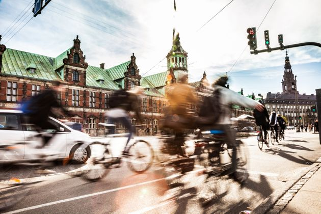 Commuters cycle in the center of Copenhagen, Denmark, which is frequently voted one of the most bike-friendly...