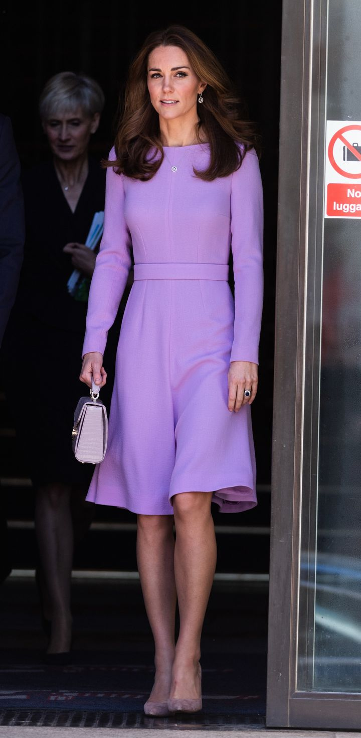 The Duchess of Cambridge leaves the Global Ministerial Mental Health Summit at London County Hall on Oct. 9 in London.
