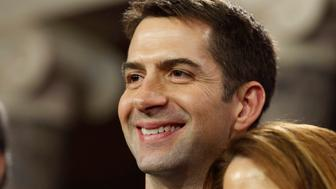 U.S. Senator Tom Cotton (R-AR) smiles after he was ceremonially sworn-in by Vice President Joseph Biden in the Old Senate Chamber on Capitol Hill in Washington January 6, 2015.     REUTERS/Larry Downing   (UNITED STATES - Tags: POLITICS HEADSHOT)