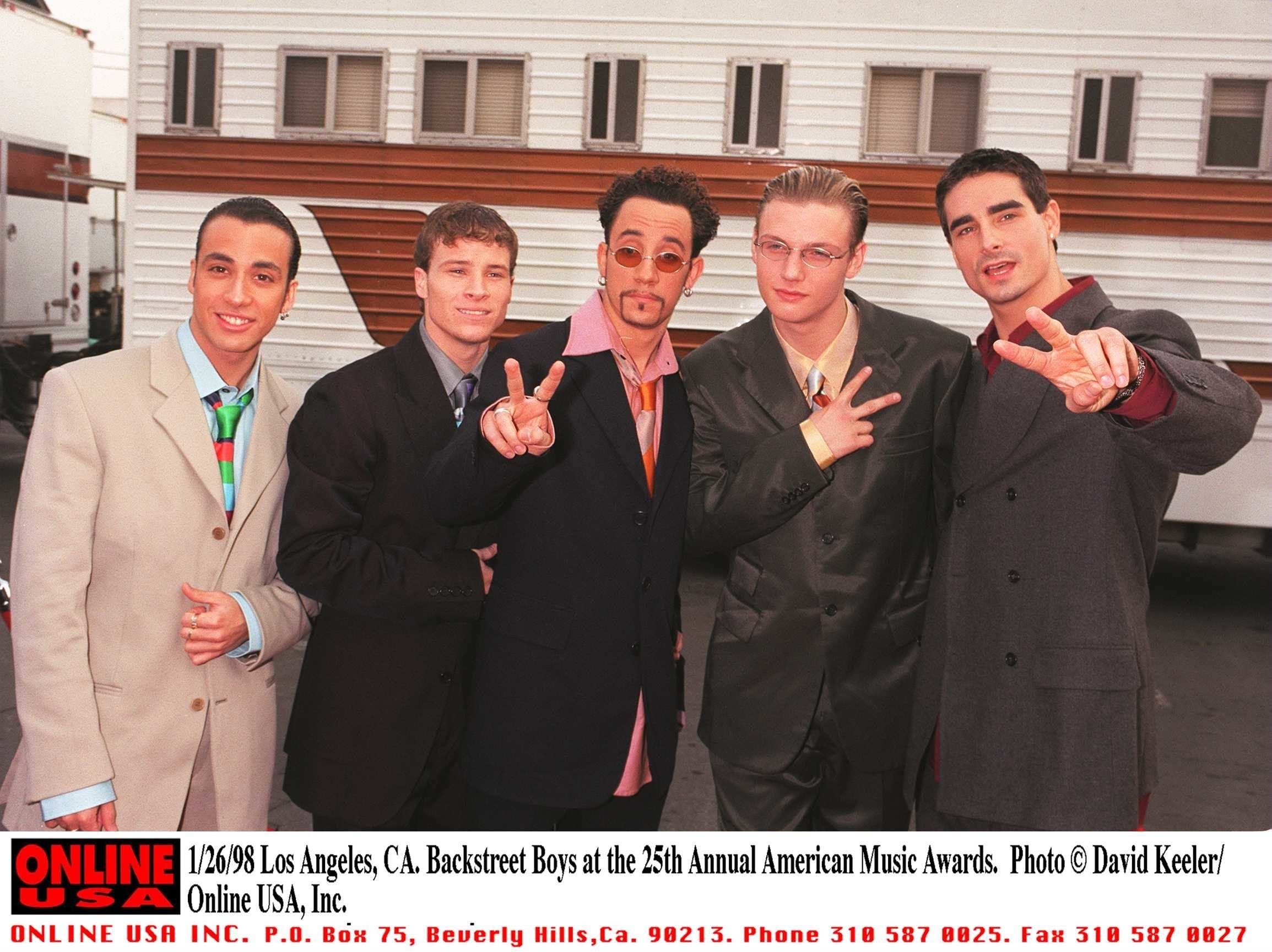 1/26/98 Los Angeles, CA. Backstreet Boys at the 25th Annual American Music Awards rehearsal.